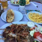 Pork souvlaki, Mousaka and our view whilst dining!
