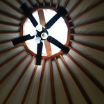Skylight with fan and overhead lighting standard in each yurt