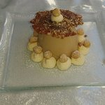 Expresso panna cotta with cinnamon and hazlenut brittle