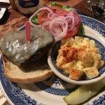 burger with potato salad