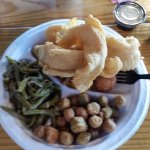 Catfish dinner with green beans, fried okra, hush puppies and Homemade Potato Chips!!