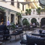 Outdoor bar in courtyard of Hotel Locarno