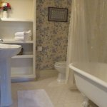 Cowley Room: clawfoot tub/shower combo