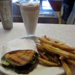 Hamburger Deluxe with fries and chocolate shake