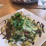 Sea bass (front) and crawfish salad (back)
