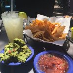 Chips, salsa, guac and the traditional marg (on the rocks, no salt)