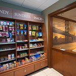 Our 24/7 Pantry Shop offers snacks, drinks, & some items you may have forgotten at home.