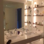 Lots of shelving on both sides for all toiletries
