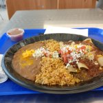Beef Enchilada Plate with Refried Beans and Rice