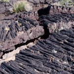 A large crack in the lava