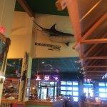 High lofty ceilings in the restaurant