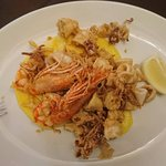 Fried seafood menu with polenta