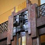 Art Deco door with Chac, Mayan God of rain.