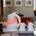 The kettle has a coloured light inside!