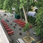 The newly renovated beer garden