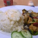 Chicken in black bean sauce and rice