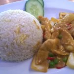 Chicken in curry sauce and fried rice
