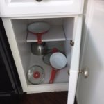 This was the fully stocked kitchen. One small frying pan and one small sauce pan.