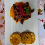 """Platacones con carne at """"In Situ"""" in the gardens"""