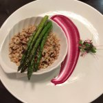 Seven grain Rice with asparagus and beet puree