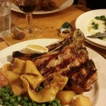 Veal Chop with Peas.. They threw in some pasta with wild boar sauce.