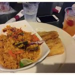 Seafood Rice with Tostones de Pana