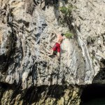 Deep water soloing on the first day