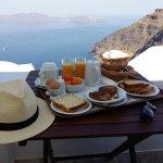 Breakfast servced on the balcony.