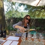 Pouring the delicious Sauvignon Blanc at Twomey Vineyard. We all received a Twomey wine glass!