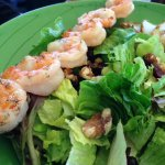 Roasted Pear Salad With a Skewer of Shrimp