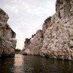 River Narmada Flowing between Marble Rocks.