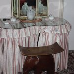 Dressing table in Room 2 with unusual elephant seat