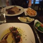 Steak and panfried salmon