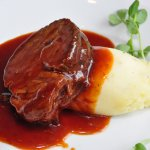 Slow braised beef brisket, barbeque sauce, creamed potatoes
