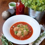 Appetizer- Polpete al sugo: tofu and chick peas balls with tomato sauce and fresh bread roll