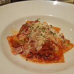 The most delicious ravioli, paired with a pleasant Malbec