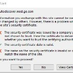 Sample of the WiFi security certificate errors