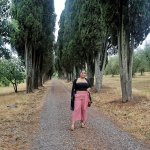 standing at the entrance of the Chianti vineyard. (left = grape vines & right = olive trees)