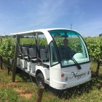 Eco shuttle vineyard tours take you all over and through the vineyard