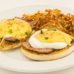 Voted a Customer Favorite... Jaybird's Egg Benedict! Breakfast served daily 7am - 2pm
