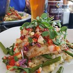 strawberry and pineapple salsa tilapia with a Door County Cherry Wheat Beer