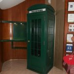 Funny green phone box in reception area (it still works)