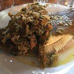Whole plaice with tempura samphire & garlic butter