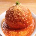 Arancino : Saffron Risotto ball stuffed with mozzarella cheese and pesto served with tomato sauc