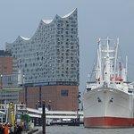 The New Hambiurg Elbphilharmonie with the museum cargo ship rickmer Rickers