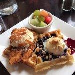 chicken and waffle & blueberry amaretto waffle