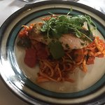 Delicious friends lunch, one was the special...king prawn and salmon linguine!