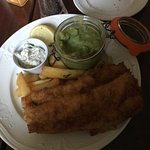 Beer battered hake, mushy peas, chips and tartar sauce