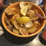 low country boil, tons of food, deep bowl
