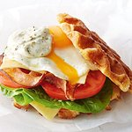 Bacon & Cheese Waffle with Poached Egg.